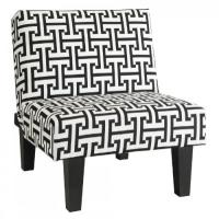 Kebo Chair, Black and White Geometric Pattern with Dark ...