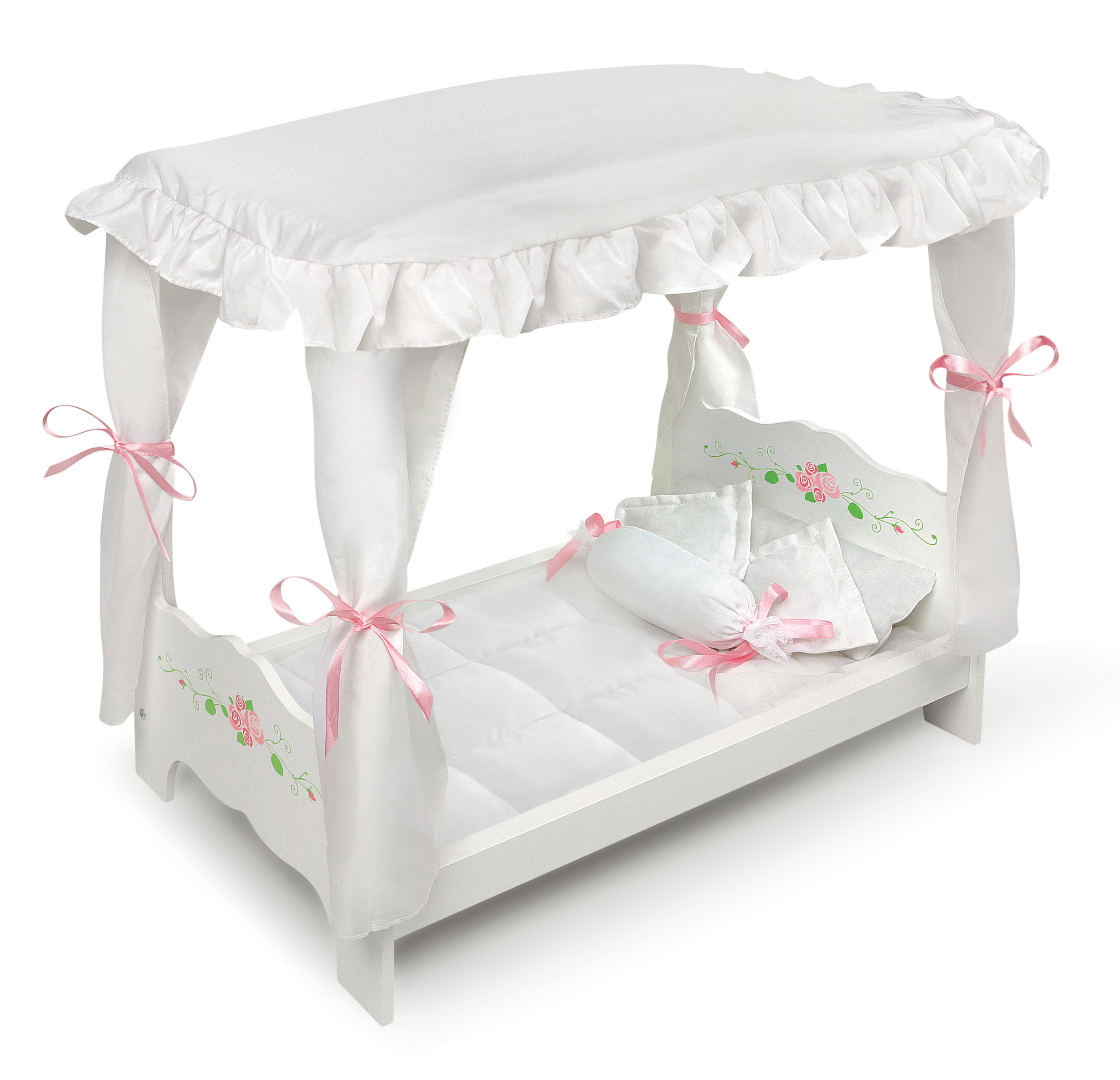 Badger Basket Canopy Doll Bed With Bedding White Rose