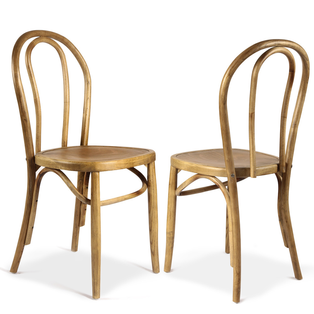 vintage wooden dining chairs folding chair fishing pole holder adeco elm wood antique bistro set of 2 walmart com