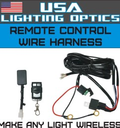 wireless remote control universal wiring harness off road atv utv jeep trucks led light bar 40 amp relay on off switch wireless remote by usa lighting  [ 1068 x 1052 Pixel ]