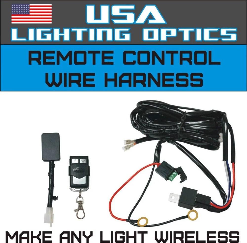 medium resolution of wireless remote control universal wiring harness off road atv utv jeep trucks led light bar 40 amp relay on off switch wireless remote by usa lighting