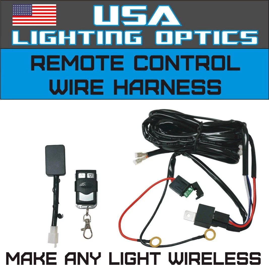 hight resolution of wireless remote control universal wiring harness off road atv utv jeep trucks led light bar 40 amp relay on off switch wireless remote by usa lighting