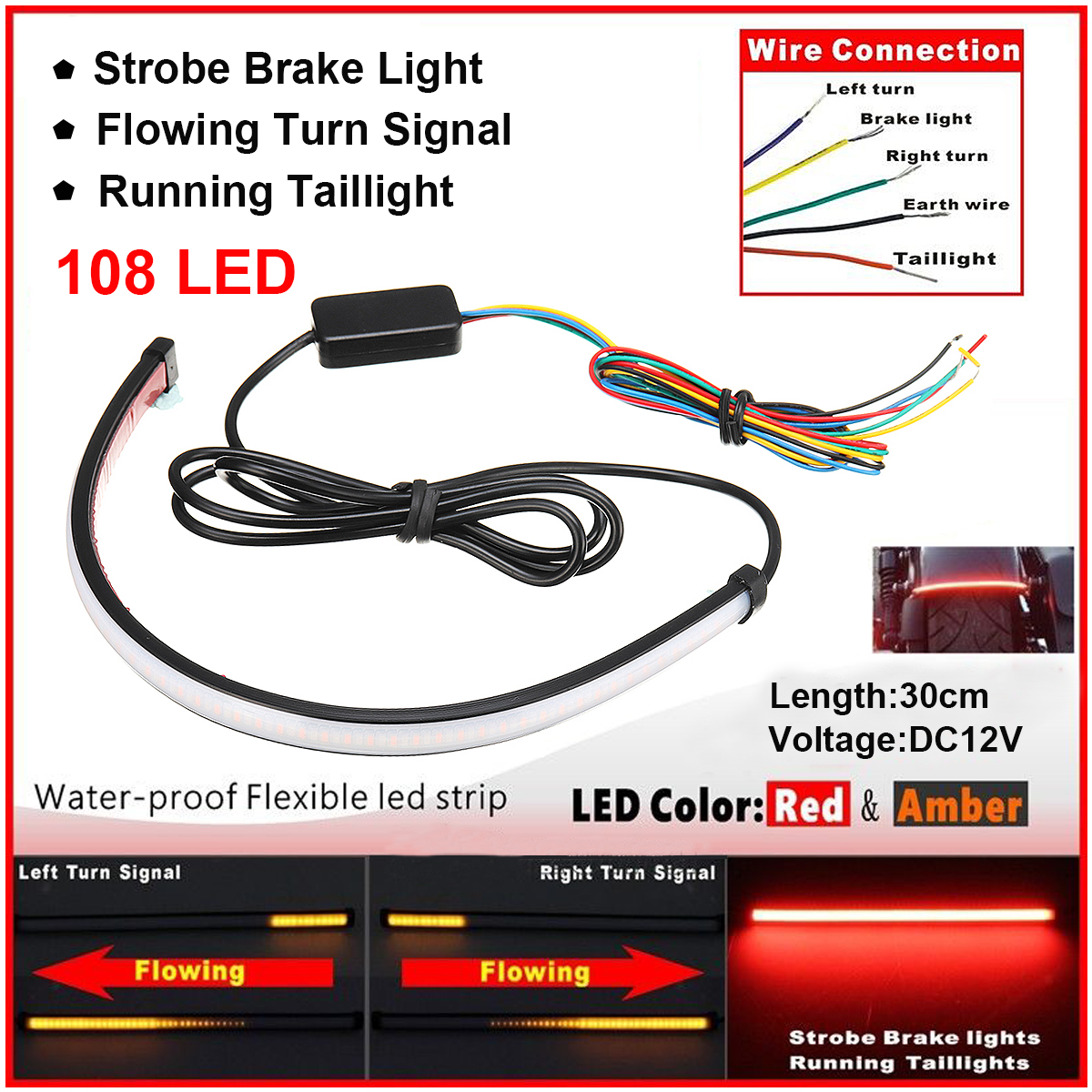 hight resolution of 12 inch 12v universal motorcycle sequential switchback flowing led tail brake turn signal strip lights tube dual color red amber switchback walmart com