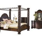 Ashley Furniture North Shore 6 Pc Bedroom Set Cal King Poster Canopy Bed Dresser Mirror 2 Nightstand Chest Dark Brown Walmart Com Walmart Com