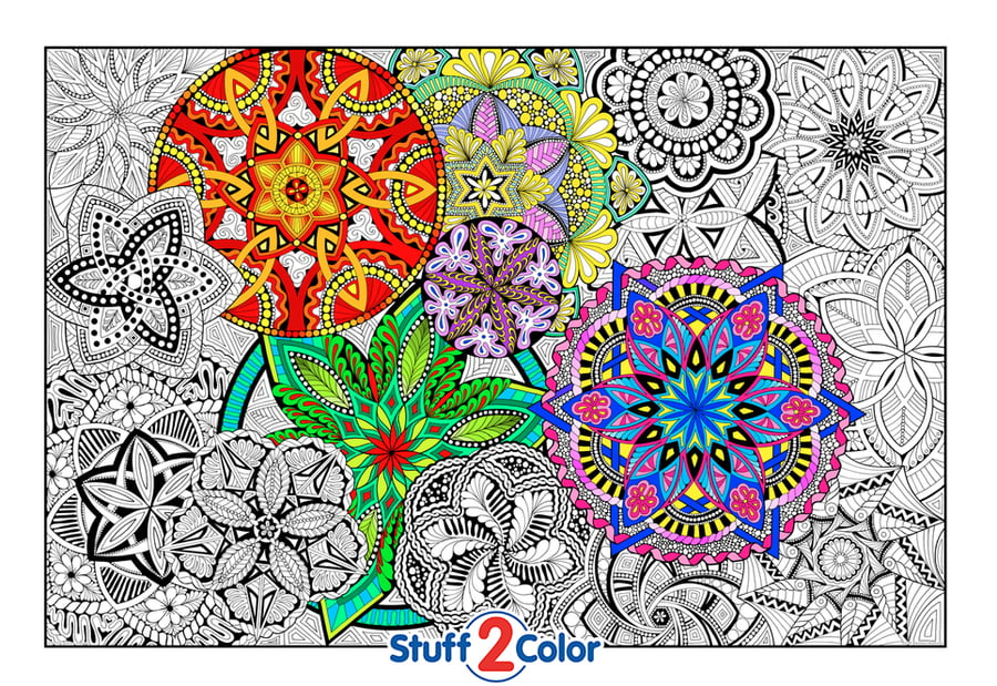 mandala madness giant wall size coloring poster