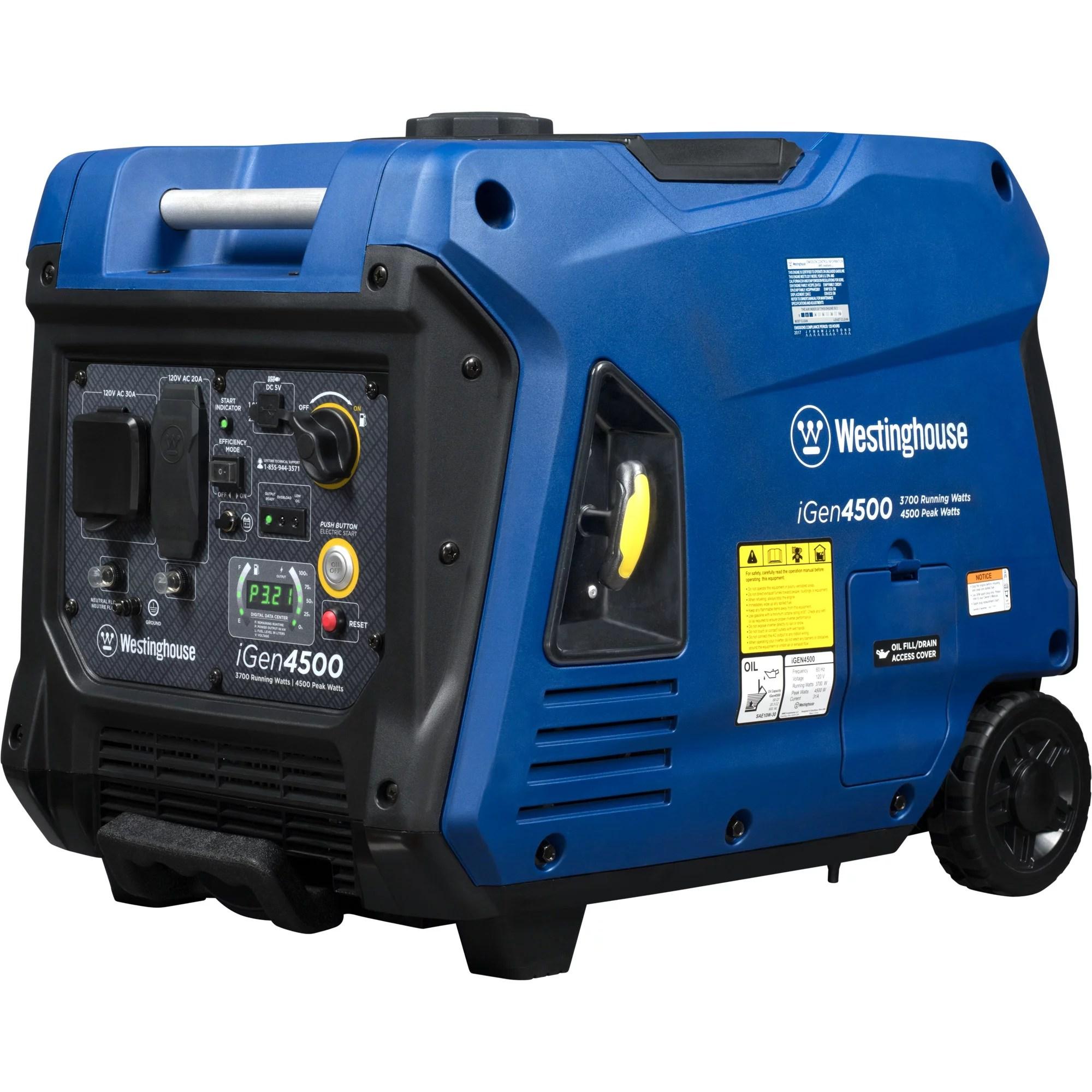 hight resolution of westinghouse igen4500 gas powered portable inverter generator walmart com