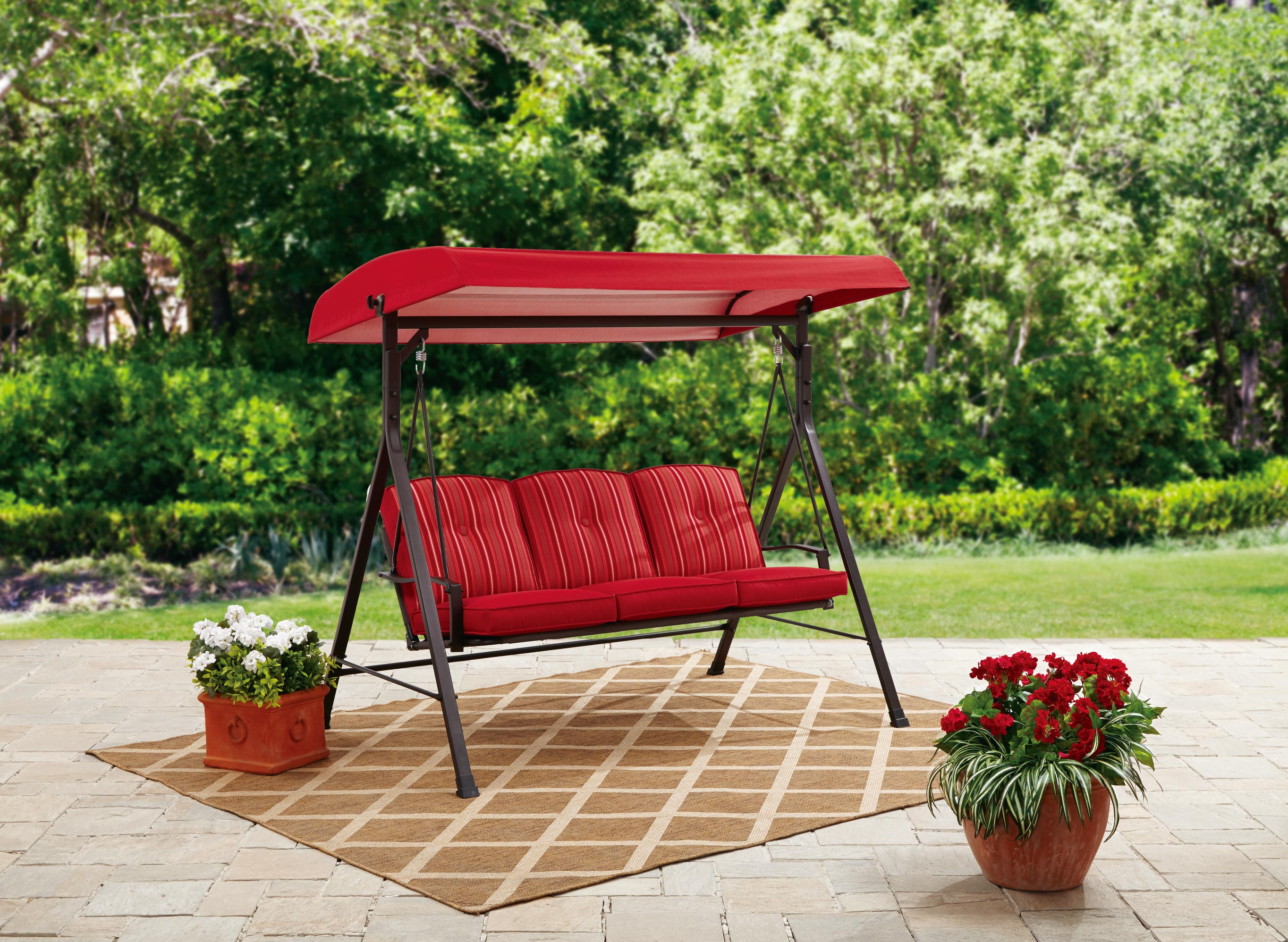 mainstays forest hills 3 person canopy porch swing red