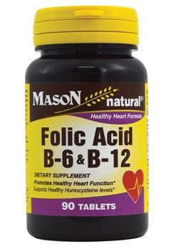 Mason Natural Folic Acid B-6 & B12 Tablets, 90 Ct