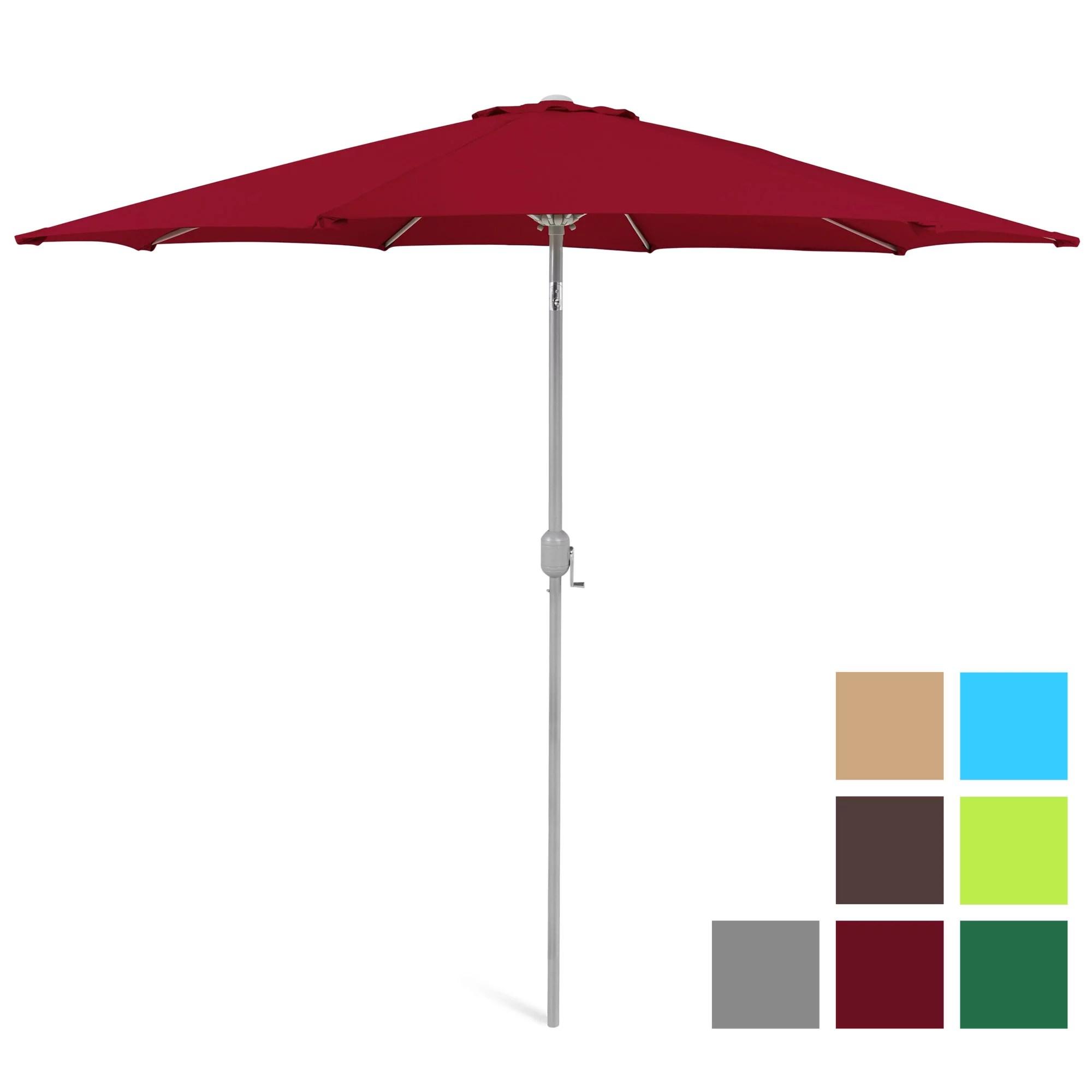 best choice products 9ft outdoor market patio umbrella w crank tilt wind vent 1 5in diameter pole red