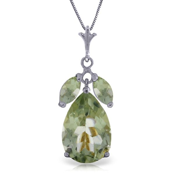 Alarri 6.5 Carat 14k Solid White Gold Fastidious Green Amethyst Necklace With 24 Chain