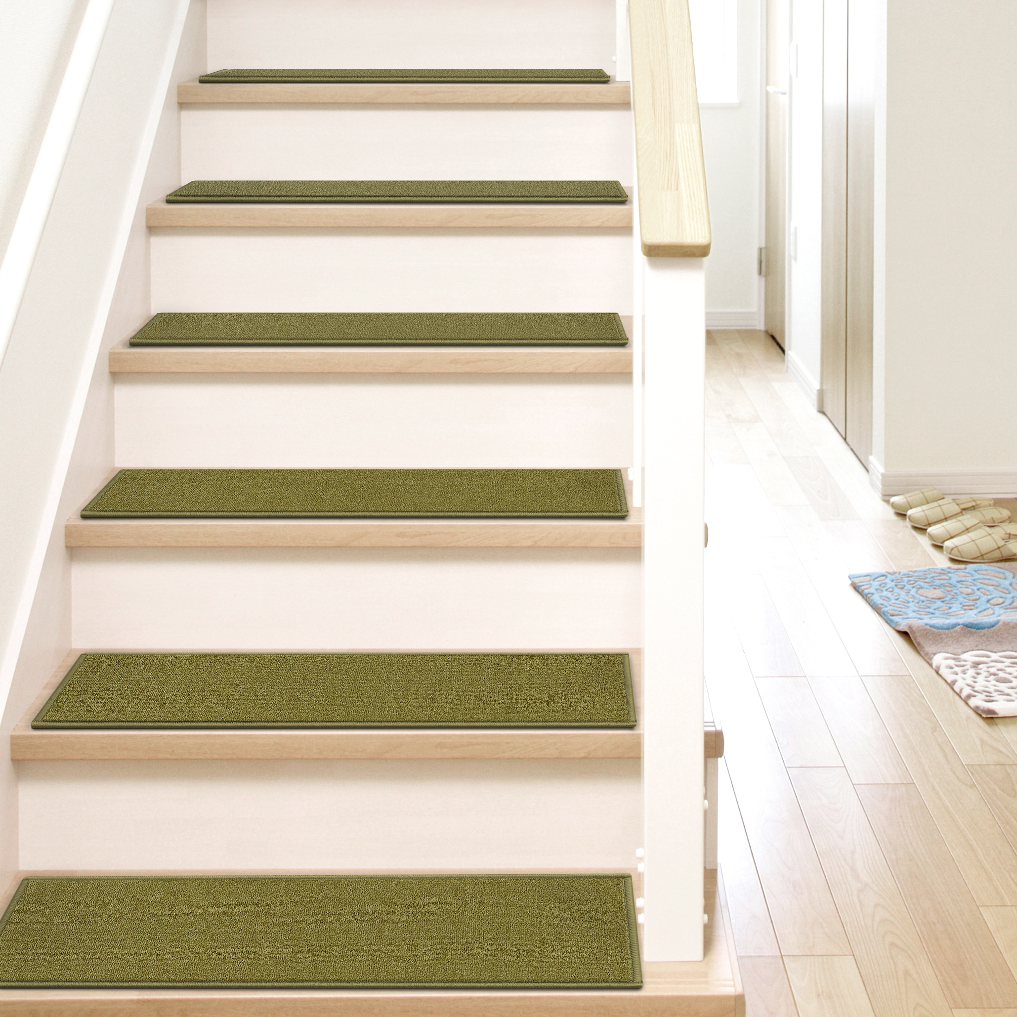 Well Woven Kings Court Warby Green Modern Solid Plain Rubber Back   Washable Non Slip Stair Treads   Carpet Stair   Skid Resistant   Rubber Backing   Nova Morrocan Washable   Removable Washable