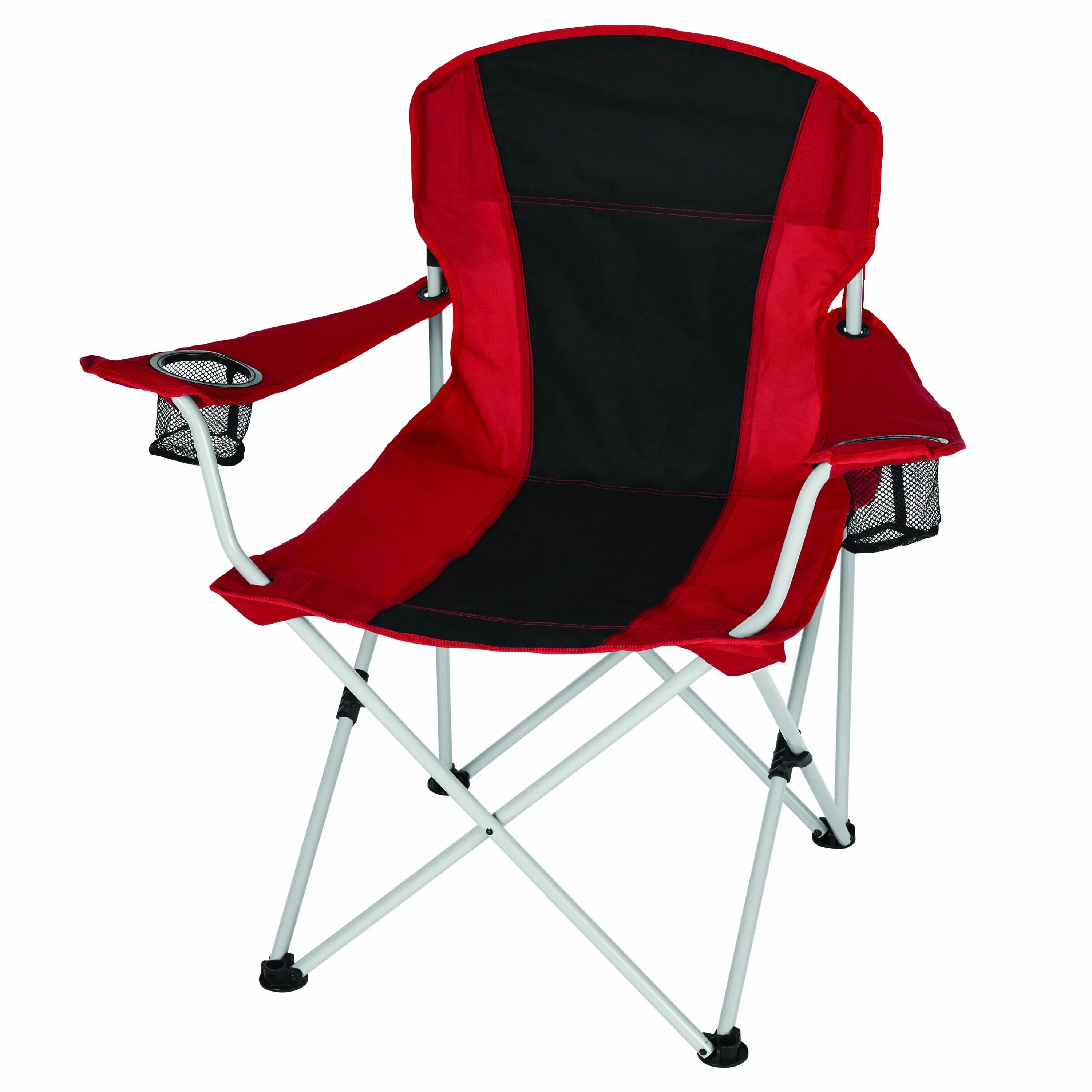 coleman camping oversized quad chair with cooler swivel tesco ozark trail chair, red/black - walmart.com