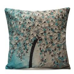 Linen Bench Cushion Sofa Leather Cushions Flat Asewin 3d Flower Cotton Throw Pillow Cover