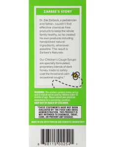 Zarbee   naturals children cough syrup mucus with dark honey ivy leaf natural grape flavor fl ounces box walmart also rh