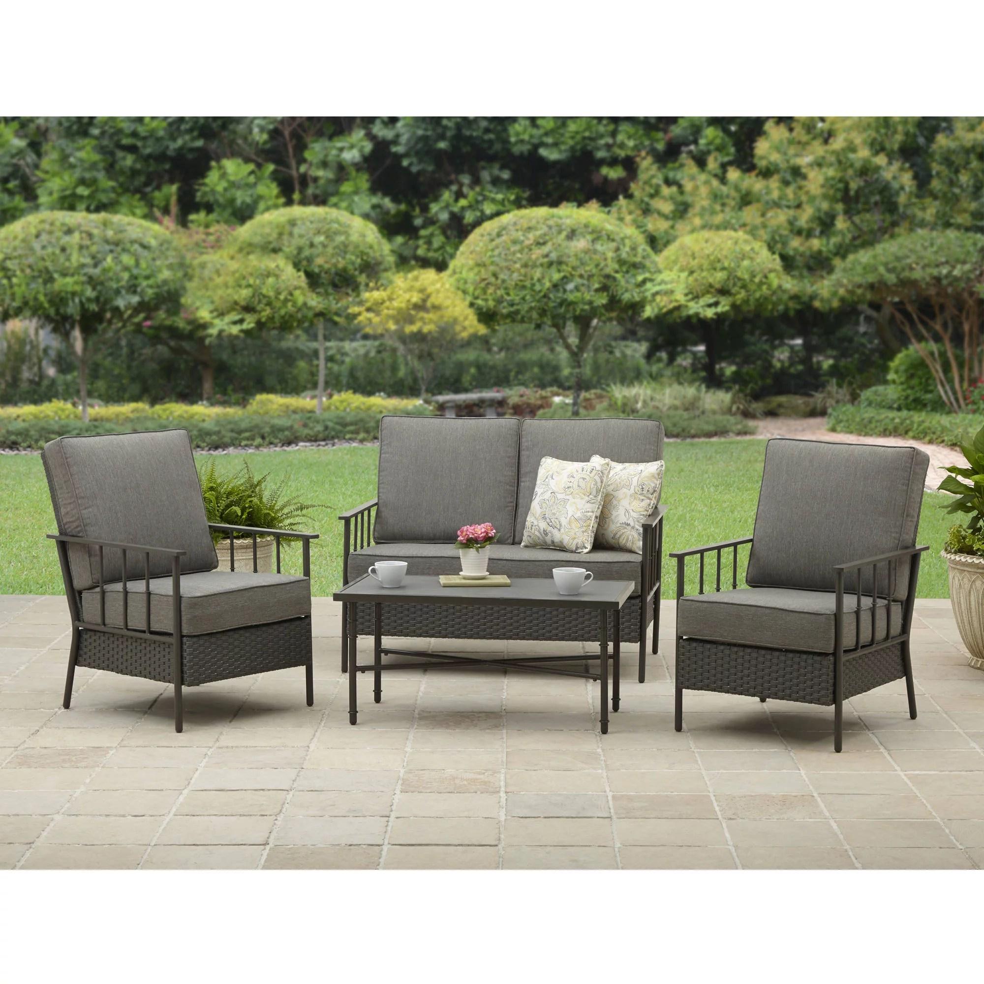 better homes and garden fairwater 4 piece outdoor conversation set walmart com