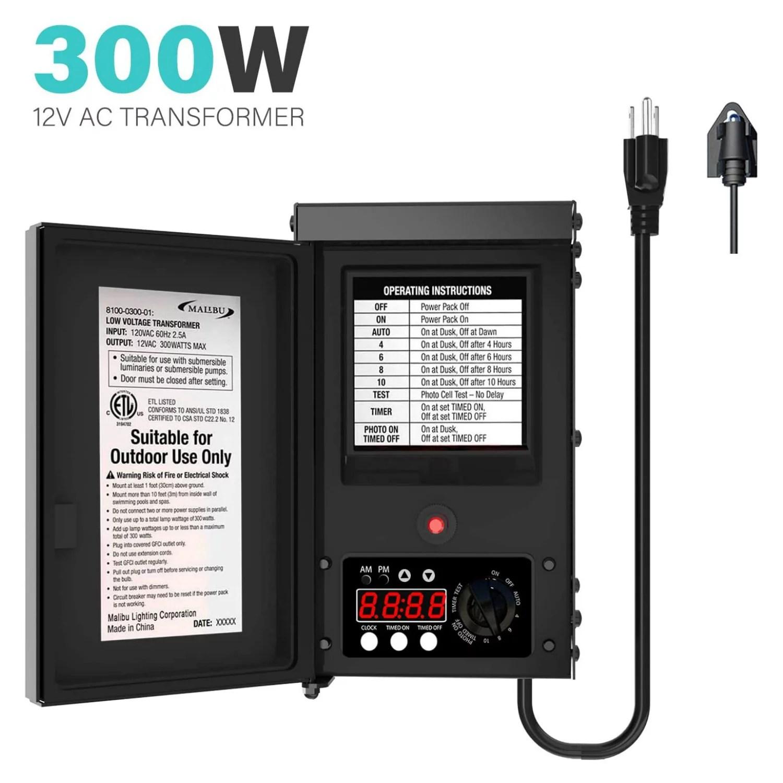 malibu 300 watt transformer low voltage for outdoor garden landscape lighting 12v ac walmart com