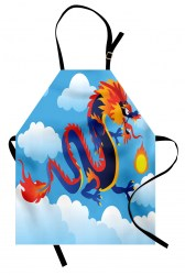 fire spitting dragon chinese apron