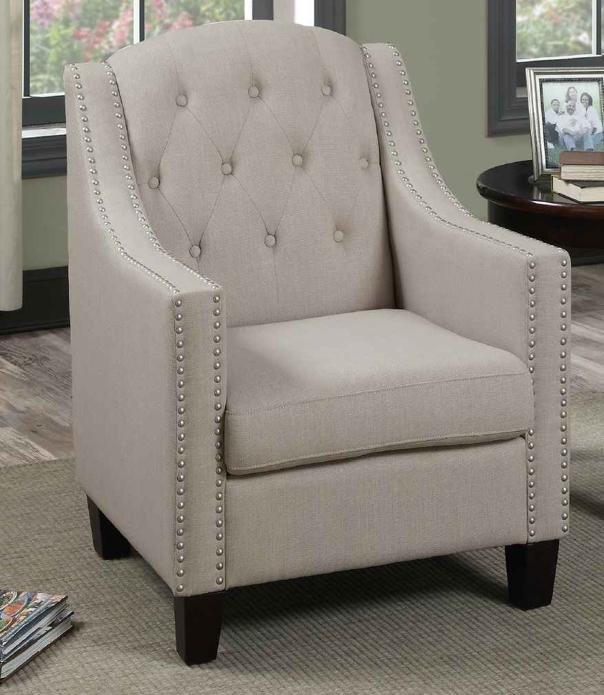 high back tufted chair how much are covers and sashes simple relax accent chic tufting nickel nailhead trim beige polyfiber