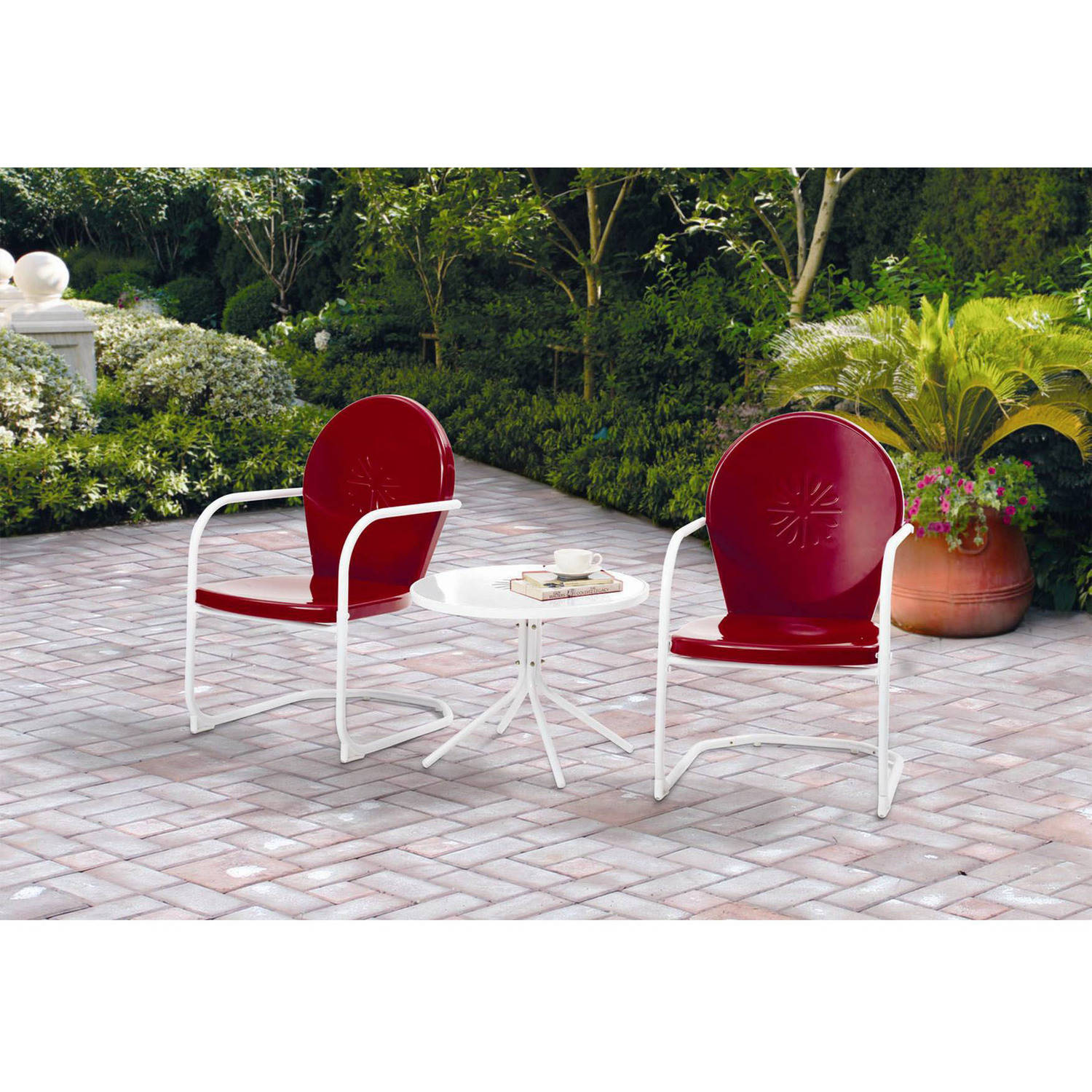 Red Patio Chairs Mainstays Retro C Spring 3 Piece Metal Outdoor Chat Set Red Seats 2 Walmart