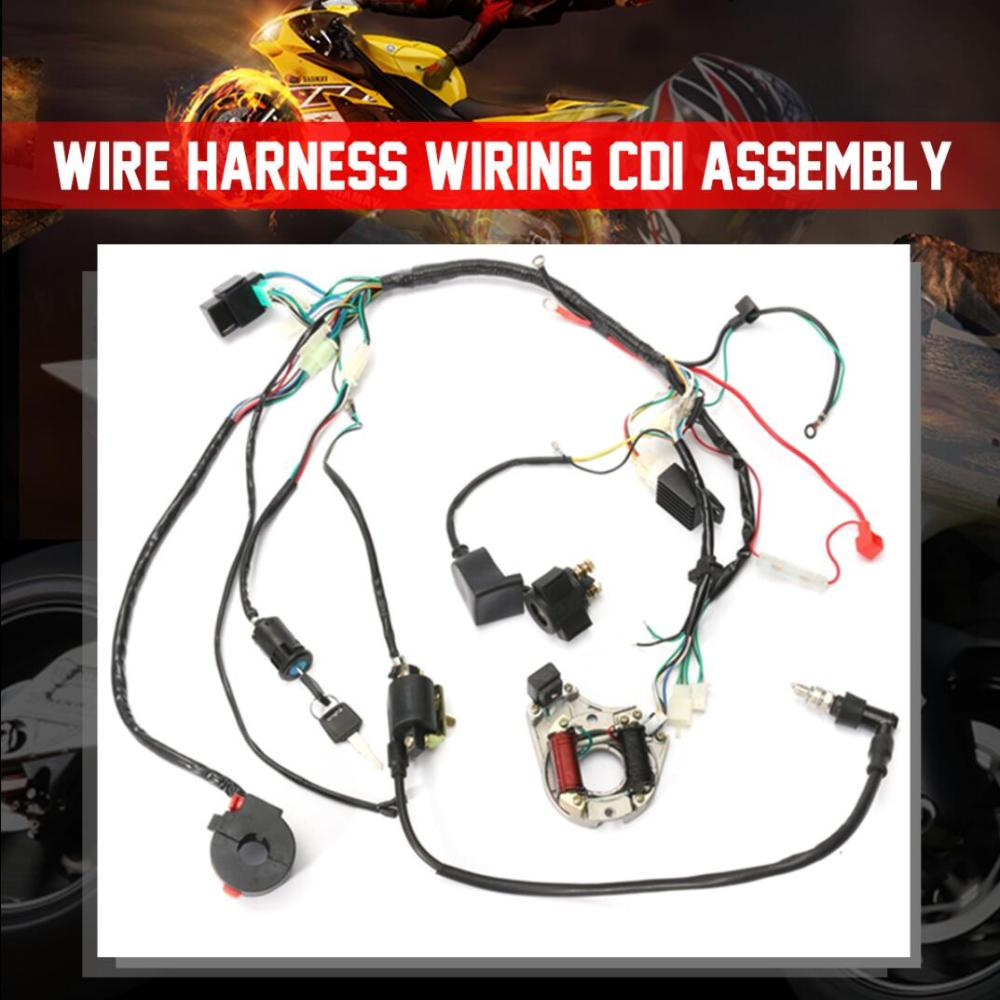 medium resolution of 1 set wire harness wiring cdi assembly for 50 70 90 110cc 125cc atv quad coolster go kart walmart com