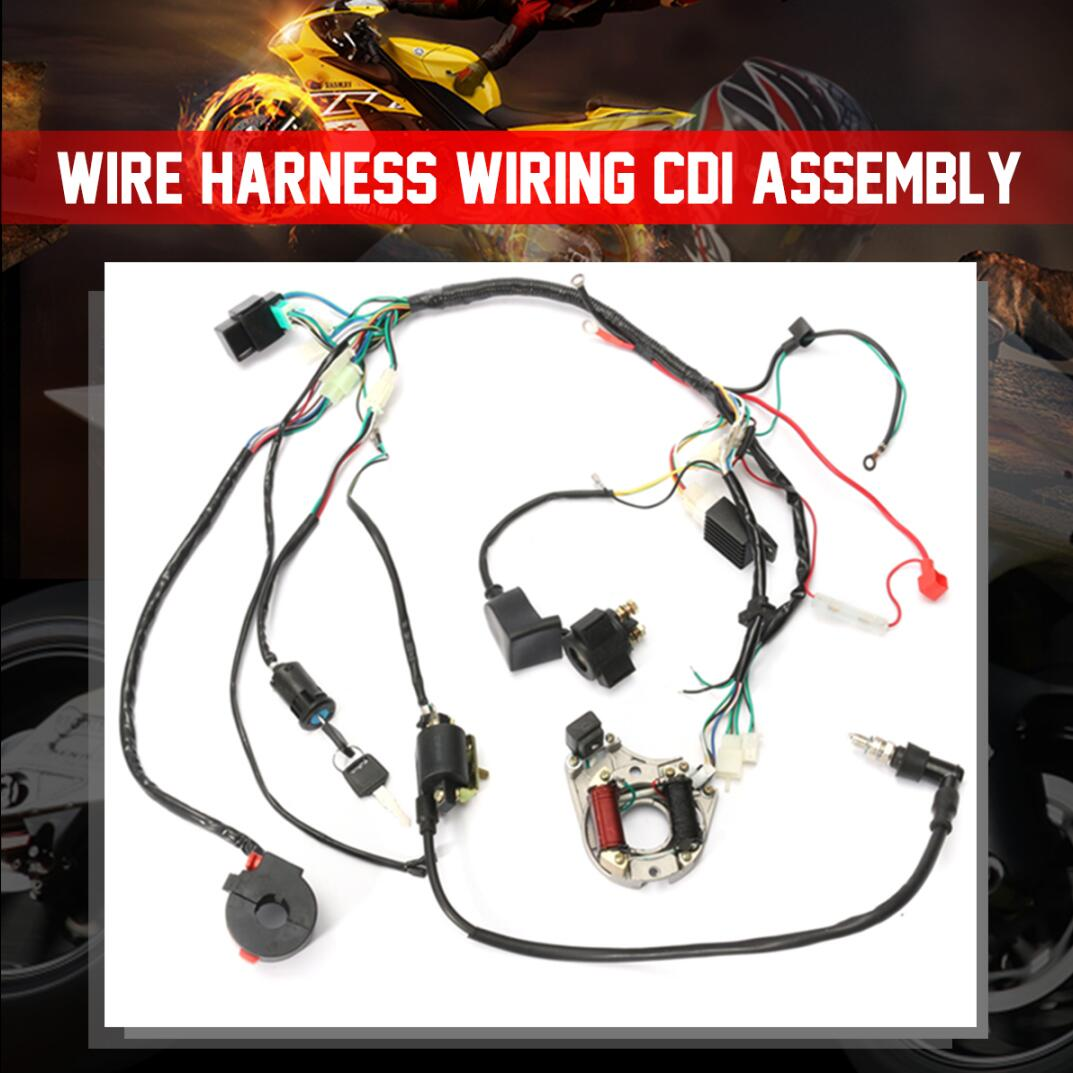 hight resolution of 1 set wire harness wiring cdi assembly for 50 70 90 110cc 125cc atv quad coolster go kart walmart com