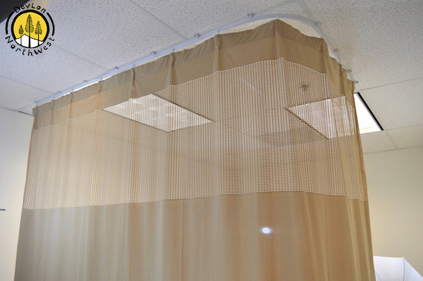 devlon northwest medical curtains privacy hospital cubicle curtain with flexible track 10 foot w x 9 3 foot h light brown