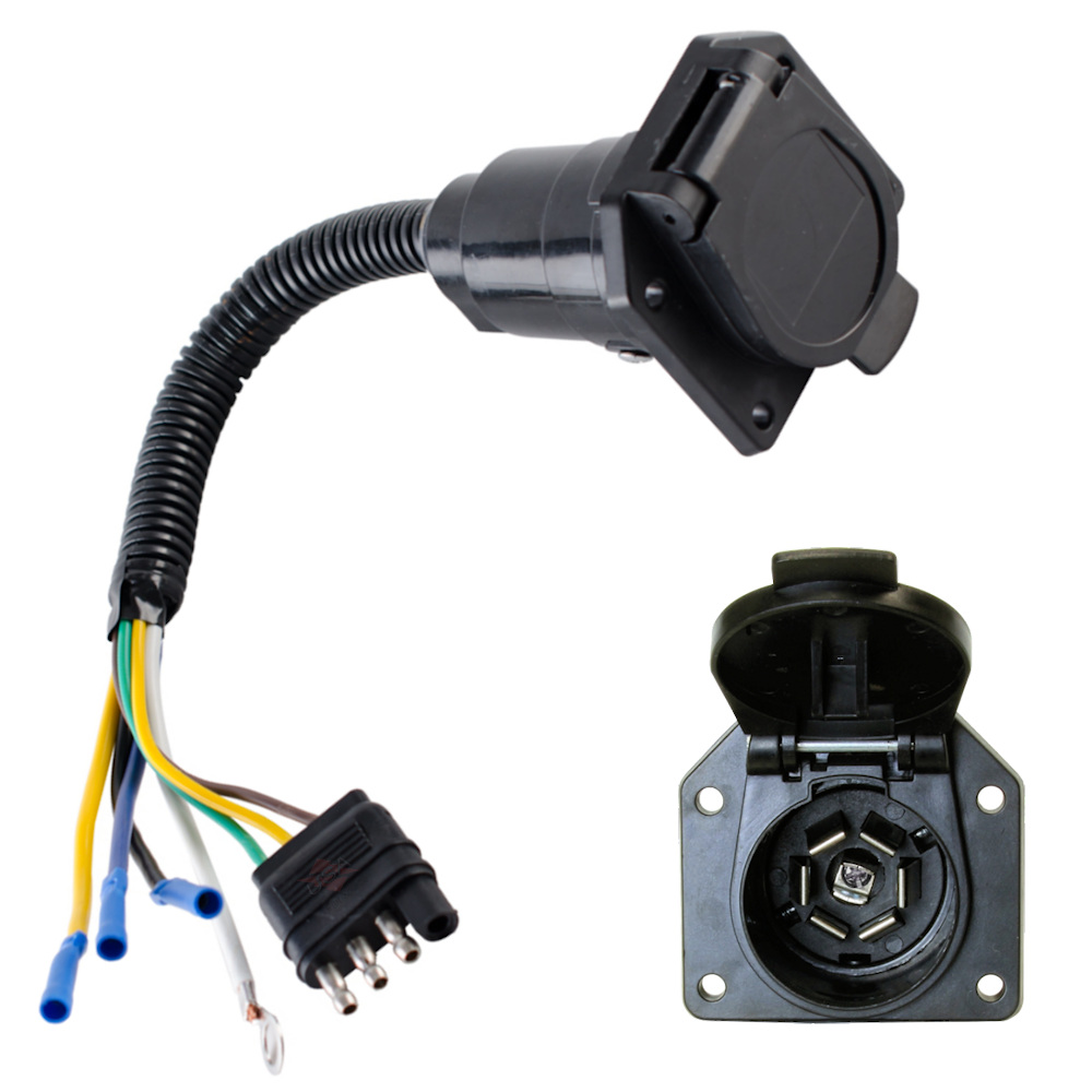 4 wire flat to 7 way converter adapter rv trailer light plug custom wiring adapter for trailer [ 1000 x 1000 Pixel ]