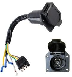 4 wire flat to 7 way converter adapter rv trailer light plug custom wire harness walmart com [ 1000 x 1000 Pixel ]