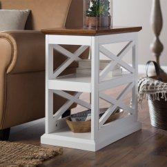 Chair Side Tables With Storage Ergonomic Back Pillow For Office Belham Living Hampton Table White Oak Walmart Com