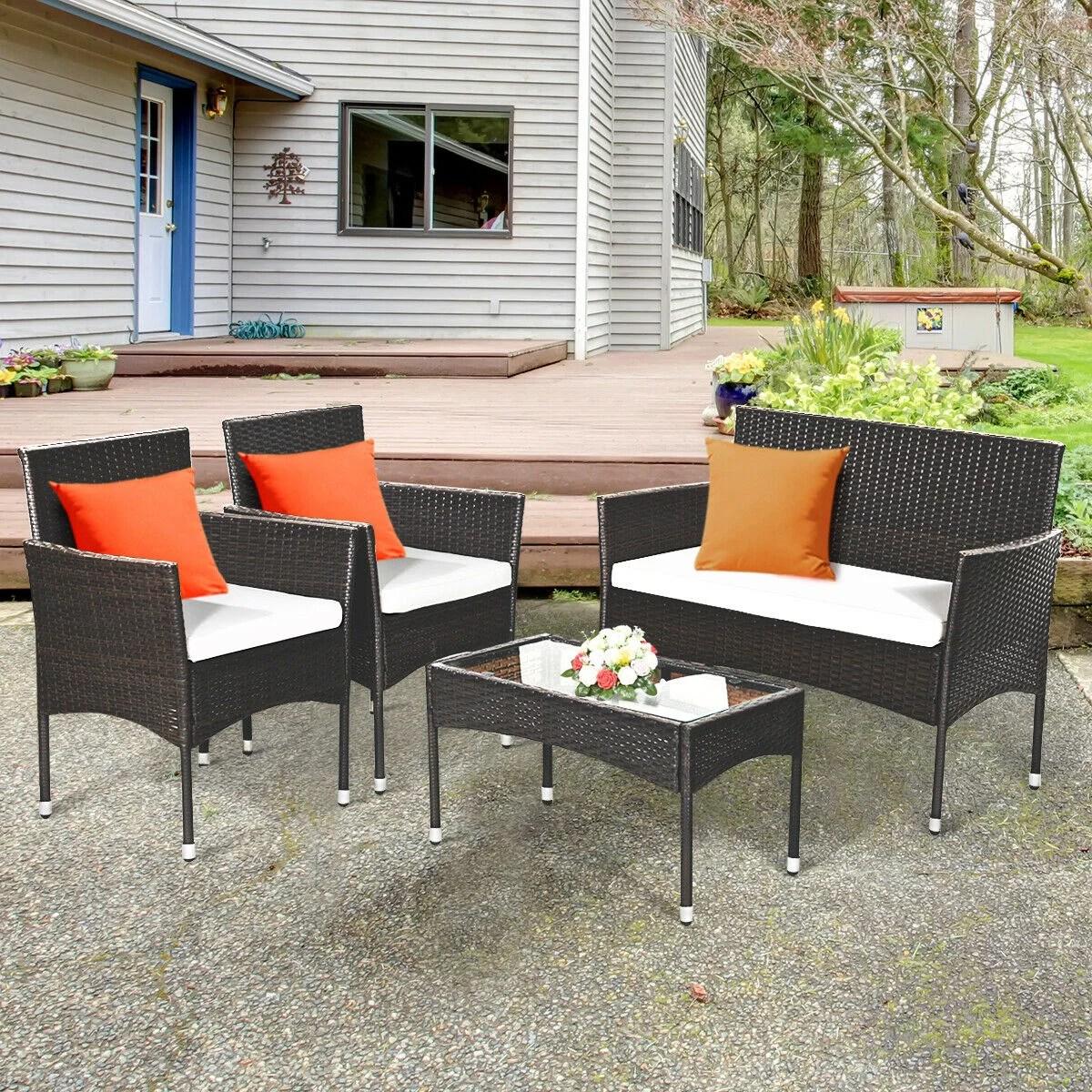 gymax set of 4 rattan wicker furniture