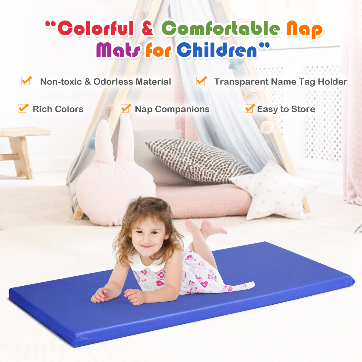 costway 2 inch toddler thick rainbow rest nap mats transparent name tag daycare 5 pack