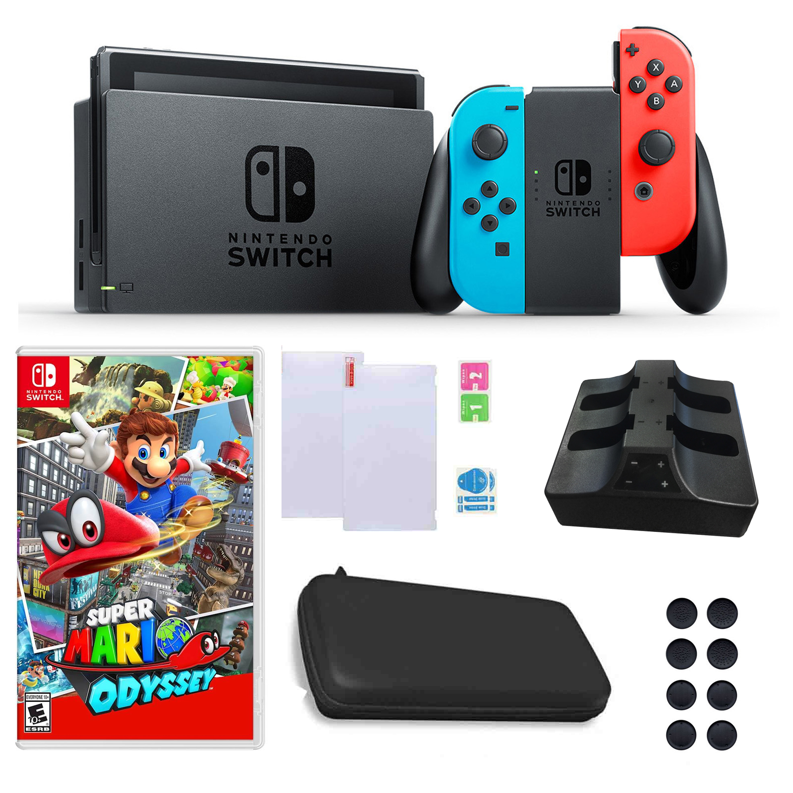 Nintendo Switch In Neon With Mario Odyssey Game And