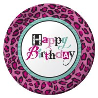 Pink and Green Leopard Print Large Paper Plates (10ct ...