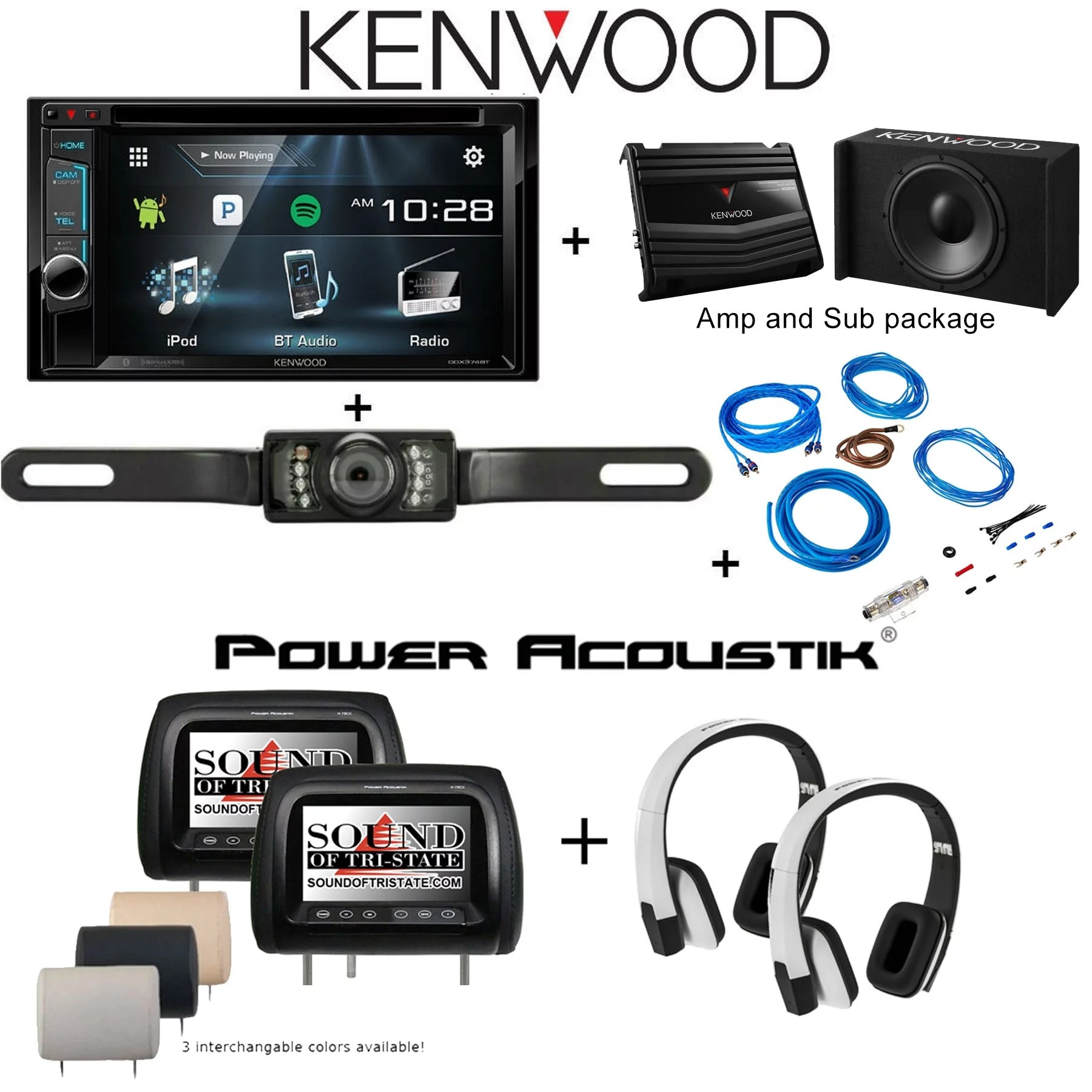 hight resolution of  camera power acoustik h 78cc two 7 headrest monitors hir2w two wireless headphones p w100b subwoofer and amplifier stinger ssk8 8ga wiring kit