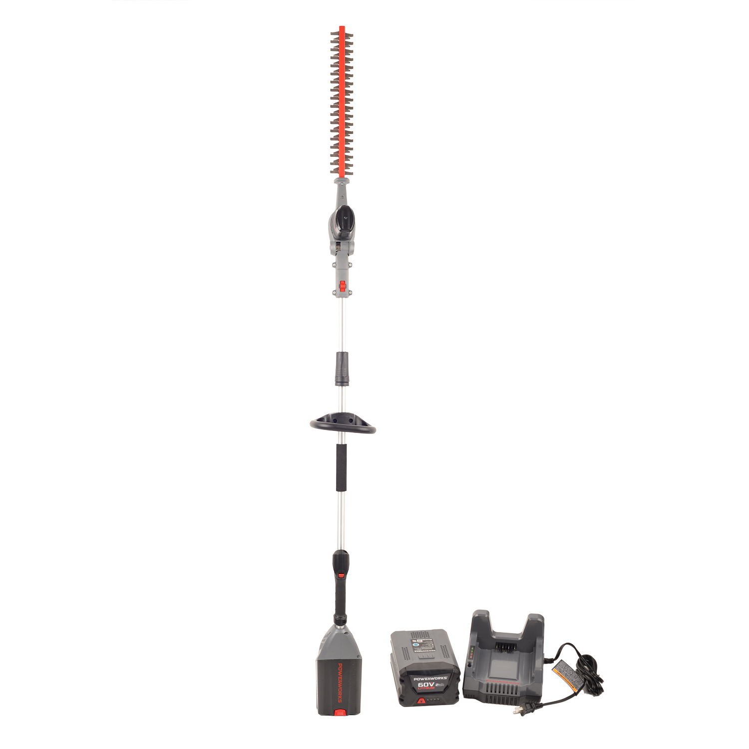 Powerworks 60v 20 Pole Hedge Trimmer 2ah Battery And