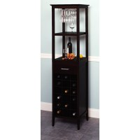 Winsome 18-Bottle Espresso Wine Tower and Glass Holder ...