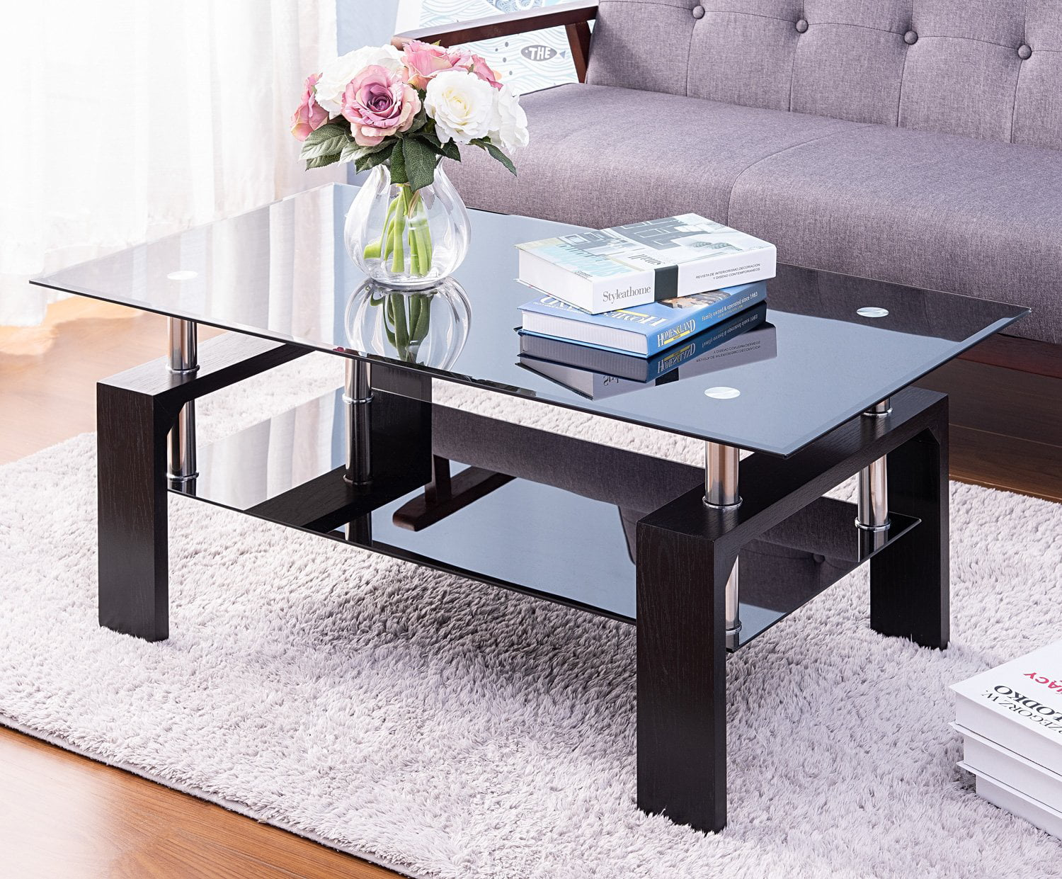 Modern Glass Coffee Table For Living Room Black Rectangle Side Coffee Table With Lower Shelf 43 3 X23 6 X 17 7 Coffee Table With Metal Legs Rectangle Center Table Sofa Table Home Furniture L5508 Walmart Com
