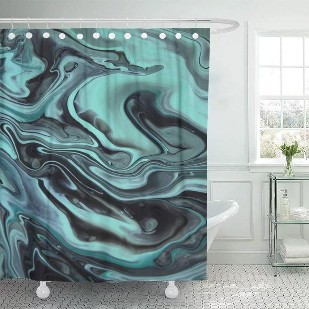 pknmt colorful agate dark green marble mint blue color mix architecture beautiful black bathroom shower curtain 66x72 inch walmart com