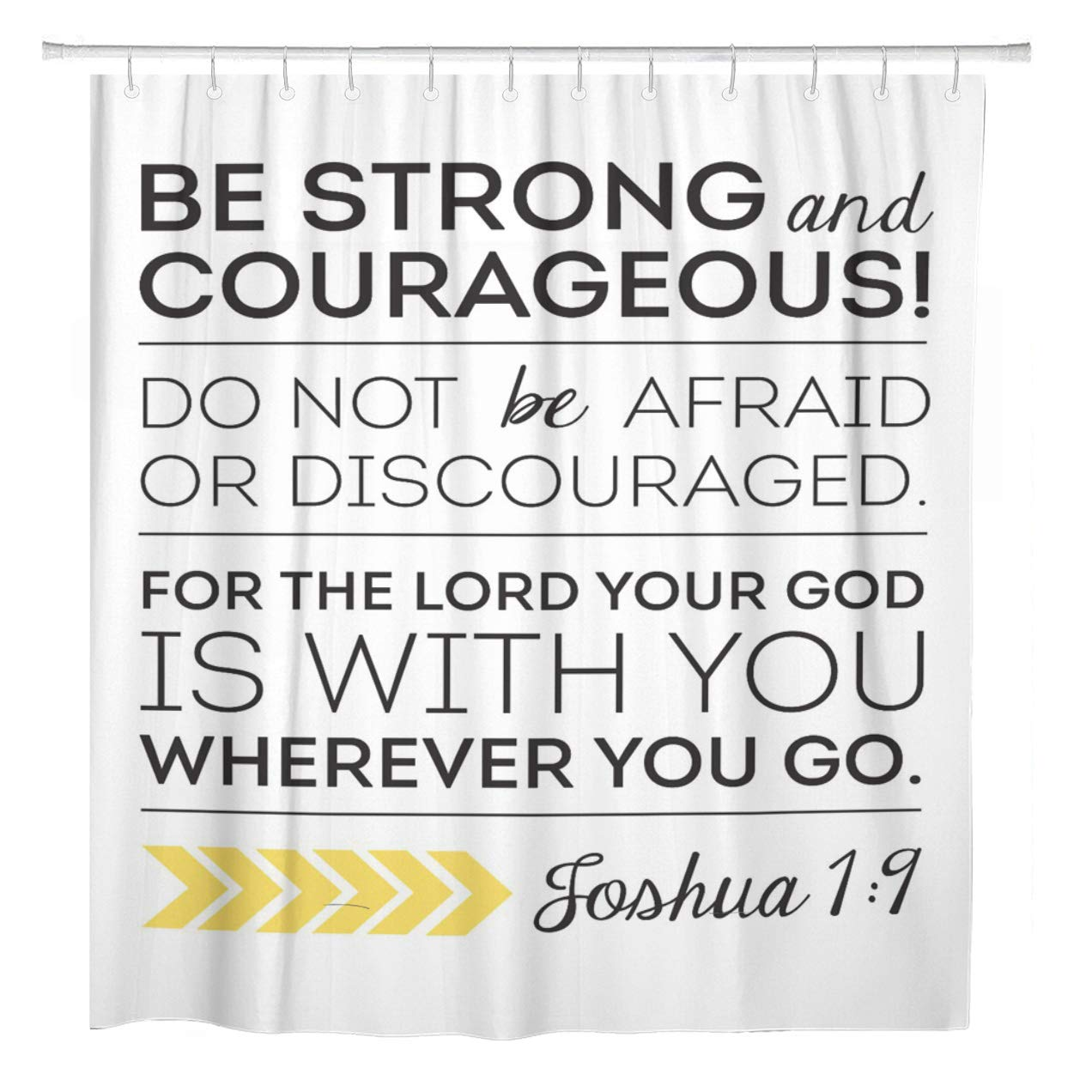 cynlon inspirational bible verse scripture be strong and courageous bathroom decor bath shower curtain 60x72 inch
