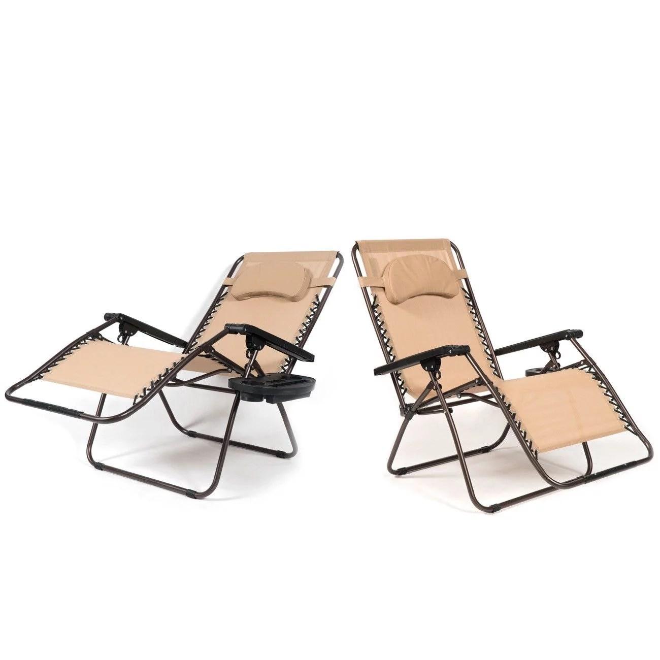 Ghp 2 Pcs Beige Breathable Mesh 51 Lx37 5 Wx37 H Oversized Zero Gravity Lounge Chair