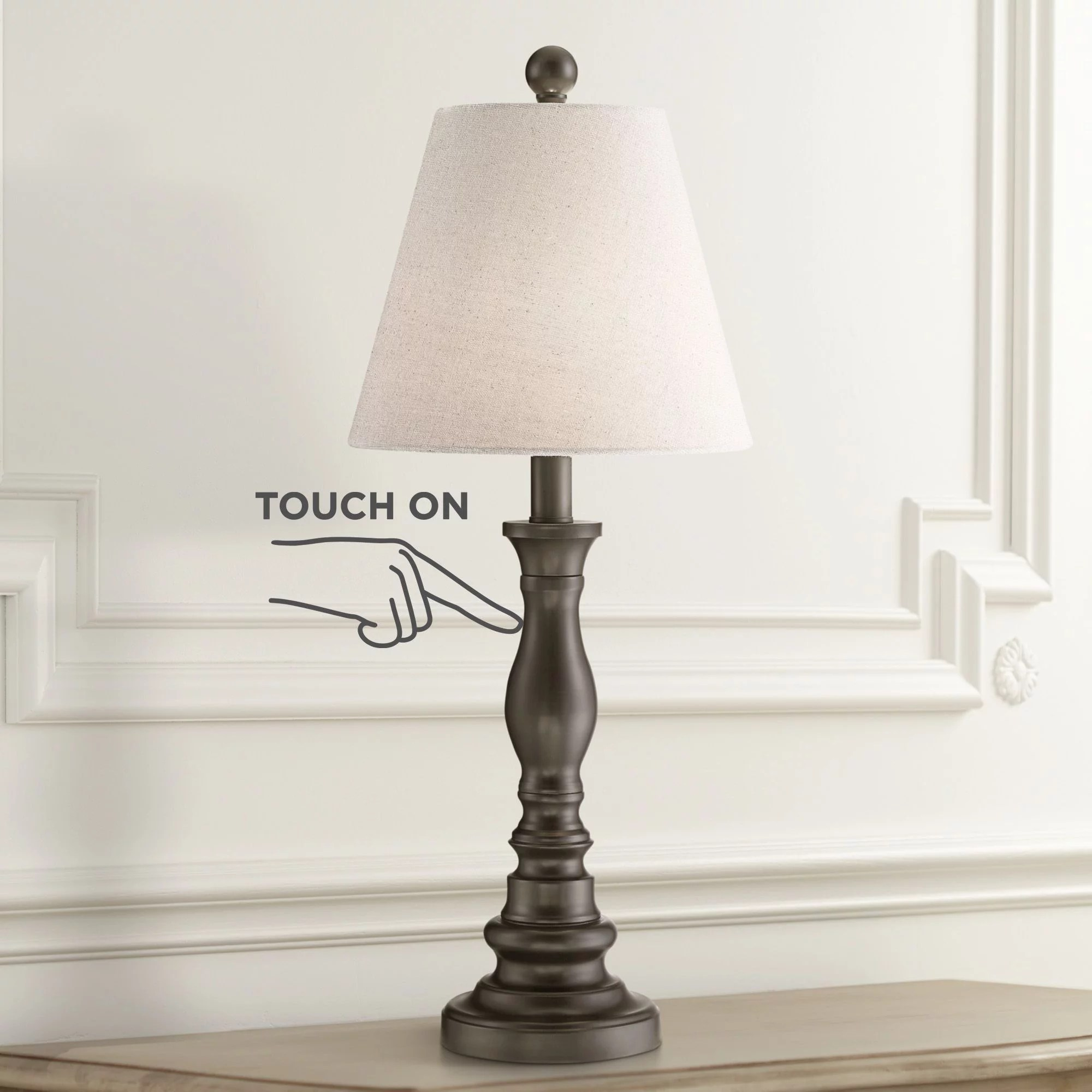 360 lighting traditional desk table lamp dark bronze metal off white empire shade touch on off for living room bedroom office