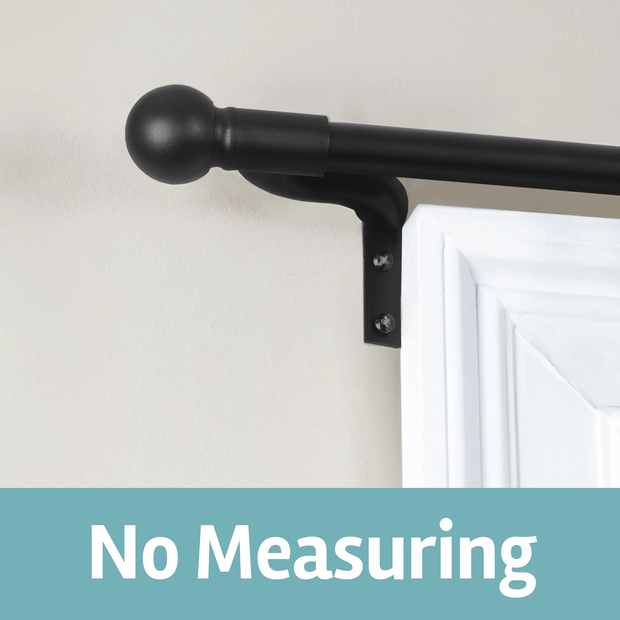 smart rods adjustable tension wall mount cafe single curtain rod 18 48 black