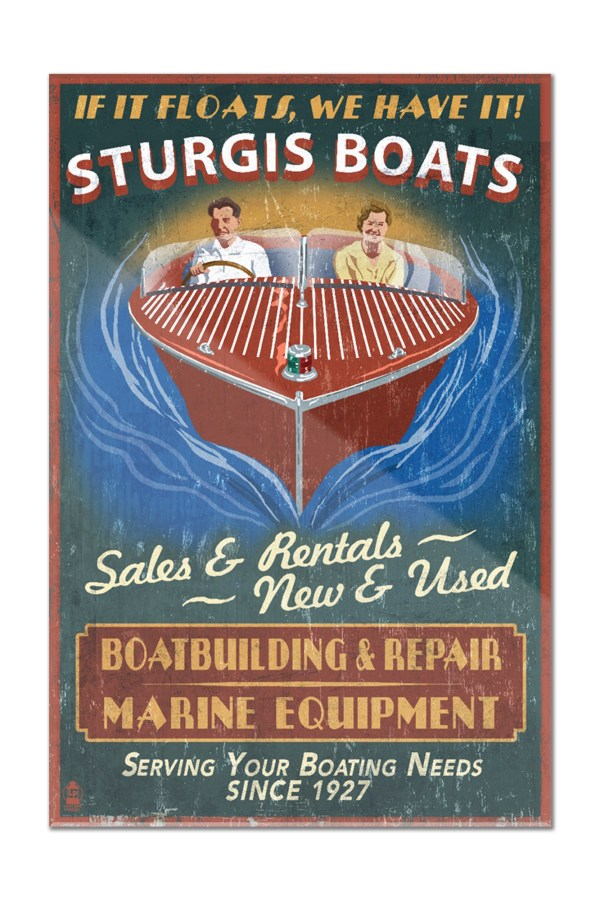 Sturgis Michigan - Wooden Boats Vintage Sign Lantern
