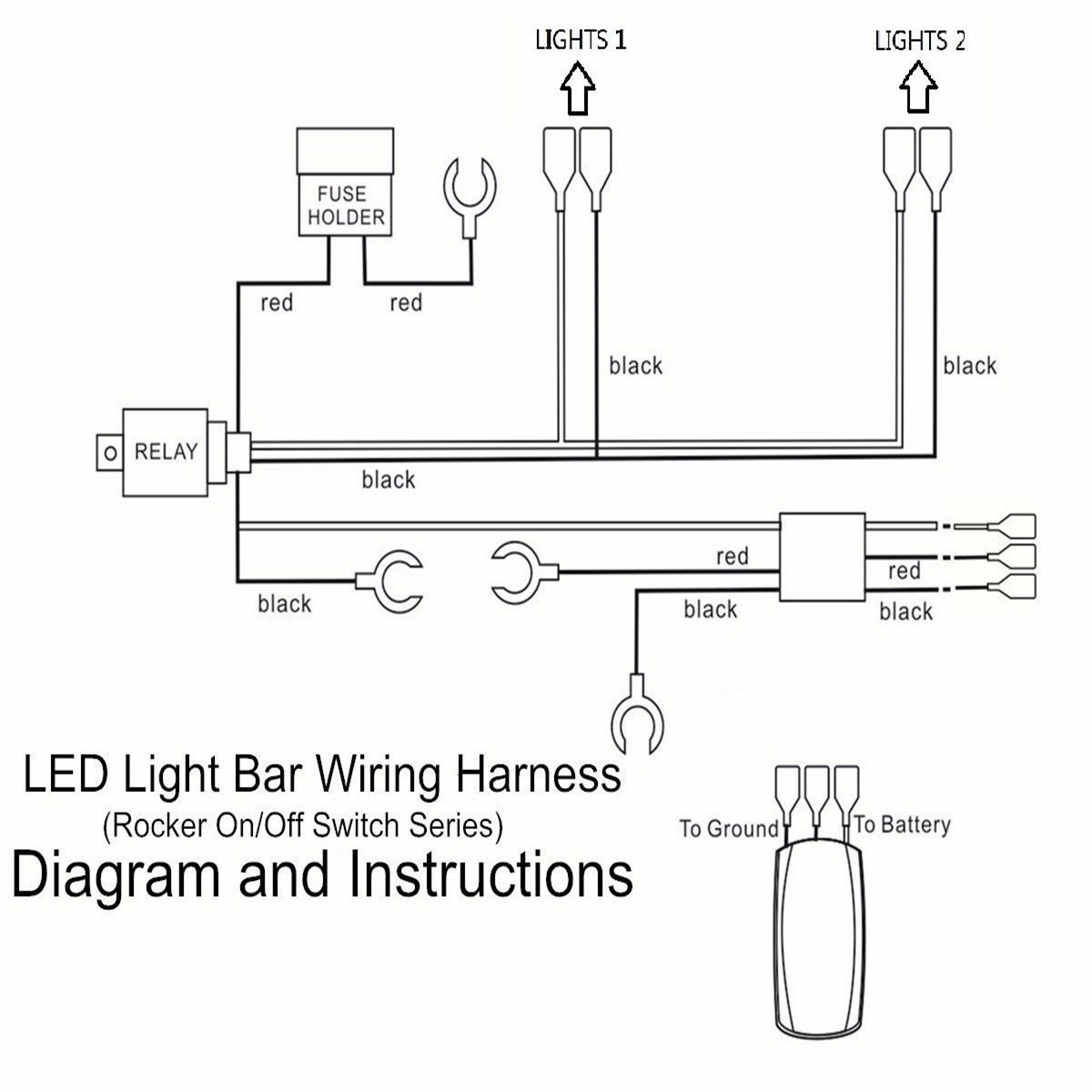 hight resolution of matcc 12v 300w led rocker switch light bar wiring harness on off laser 40a relay 30a