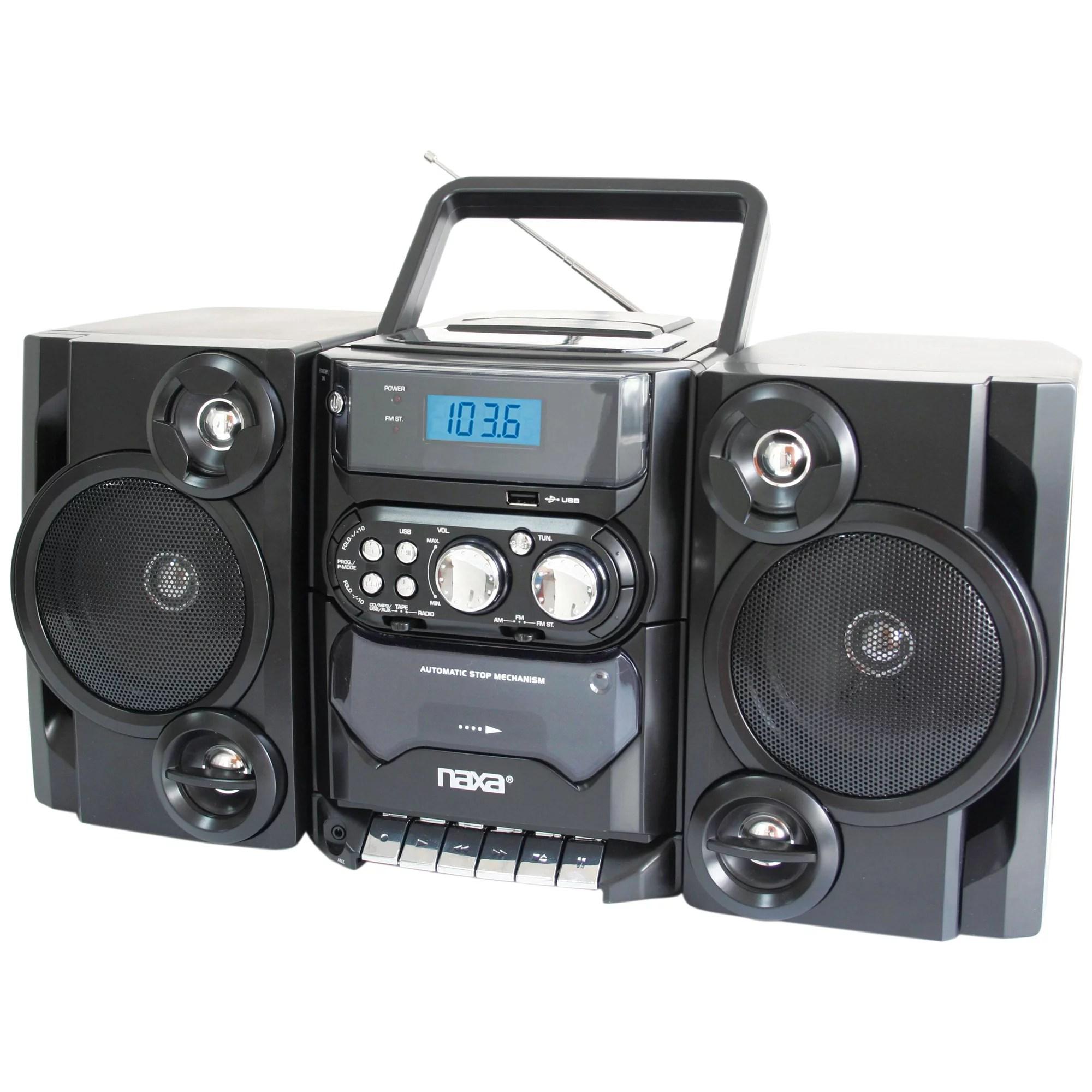 hight resolution of naxa npb428 portable cd mp3 player with am fm radio detachable speakers remote usb input walmart com