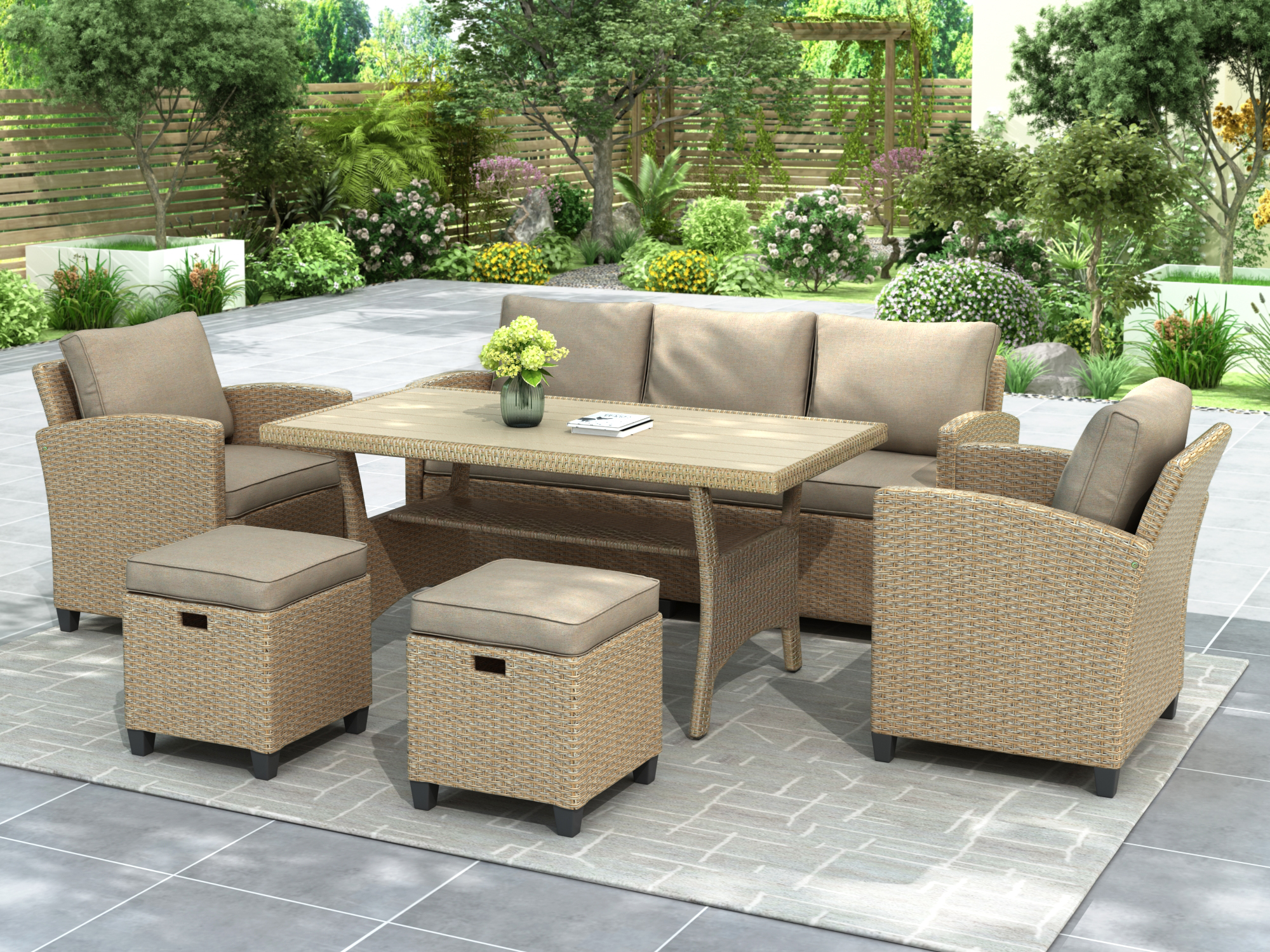 outdoor patio dining set 6 piece wicker furniture set with 3 seat sofa wicker chairs stools dining table all weather outdoor conversation set