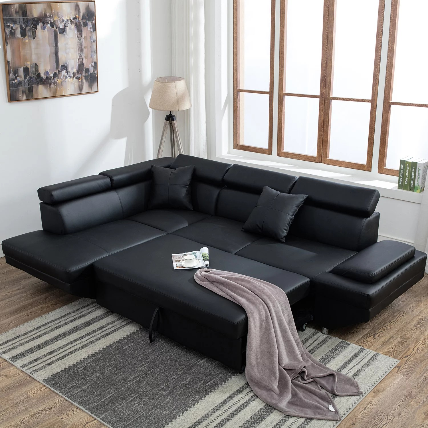 contemporary sectional modern sofa bed black with functional armrest back l walmart com