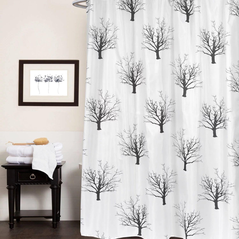 faith black white tree print polyester fabric shower curtain 70 x 72