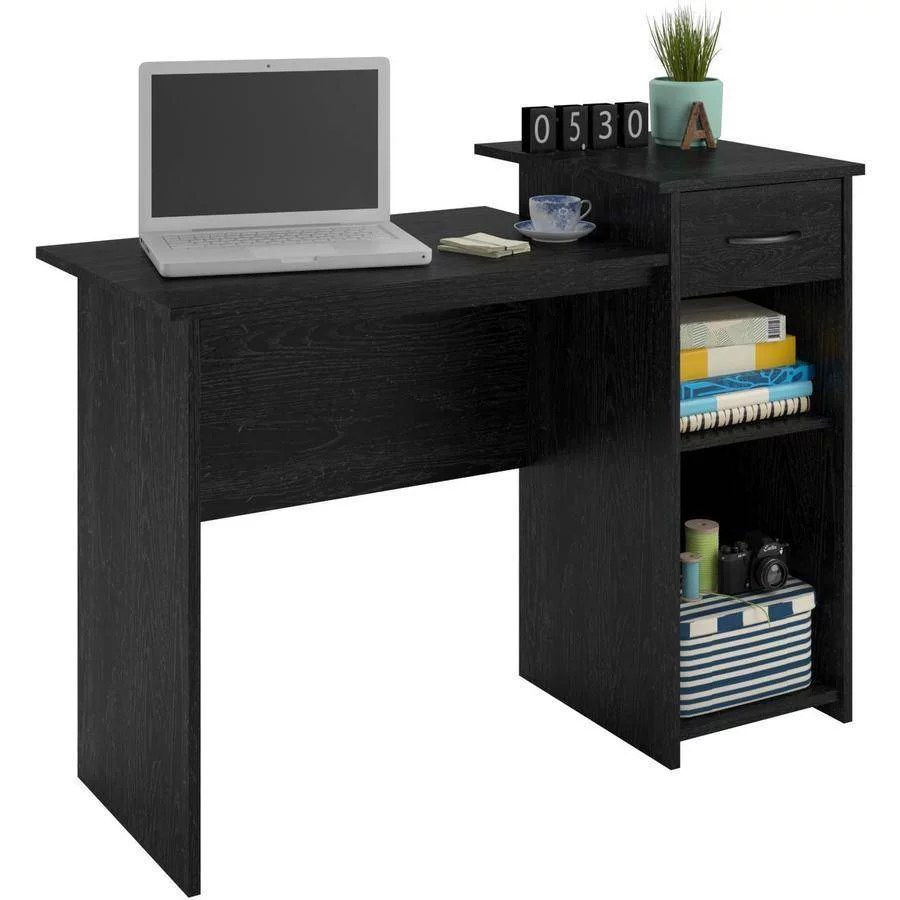 Computer Student Desk Table Workstation Home Office Dorm Drawer Study Black Ash  eBay