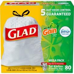 Kitchen Bags Cabinet Spacing Glad Odorshield Tall Drawstring Trash Gain Original With Febreze Freshness 13 Gallon